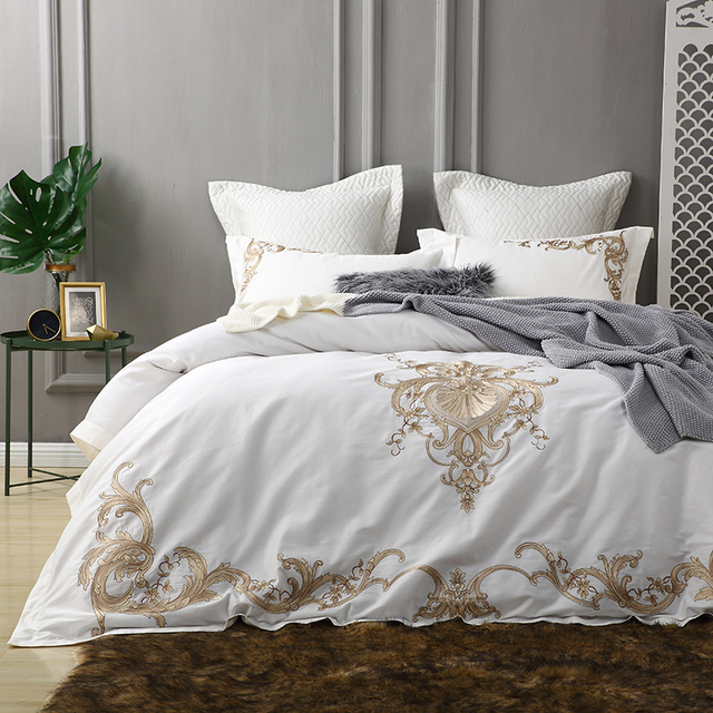 Wonderful White Luxury Egyptian Cotton Bedding Set King Queen Bed Set Golden  Embroidery Bed Cover Set Bedsheets