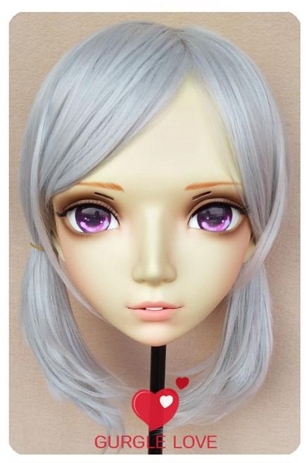 Dashing Sweet Girl Resin Half Head Bjd Kigurumi Mask With Eyes Cosplay Anime Role Lolita Mask Crossdress Doll 2019 Official gl080