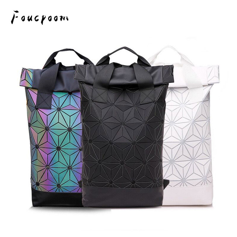 New Men Laptop Backpacks Women Luminous Geometric Backpack For Teenage Travel School Holographic Outdoor Sports Backpack Mochila