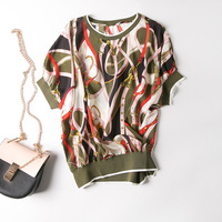 New spring and summer the collar even shoulder chain printed pure silk short sleeve T shirt coat