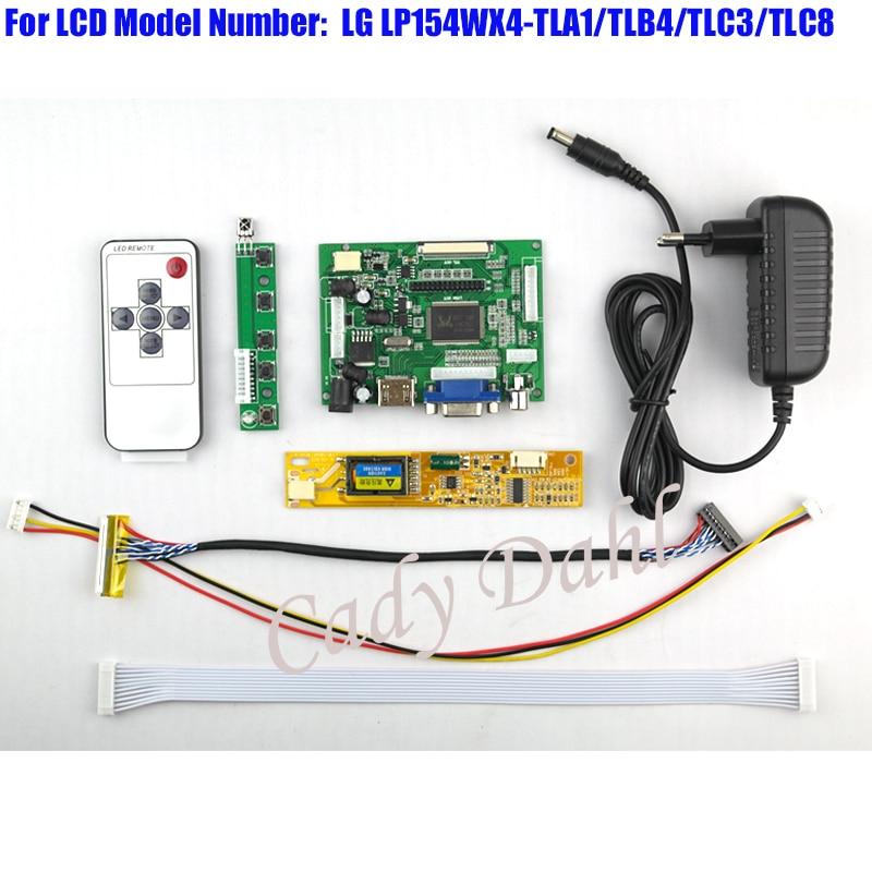HDMI VGA 2AV Controller Board Backlight Inverter 30P Lvds Cable Remote for LP154WX4 TLA1 TLB4 TLC3