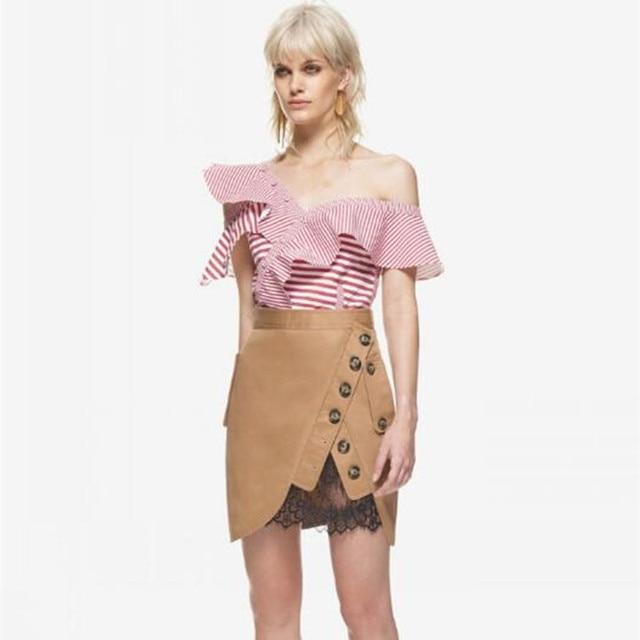 8bcf69fec2d06 Summer Blouses Women 2017 red Striped top shirts Sexy Ruffles Slim Off  Shoulder Top Blusas Femininas