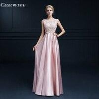 CEEWHY Formal Dress Women Elegant Appliques Evening Gown Sleeveless Embroidered Evening Dress Plus Size Vestido de Festa Longo