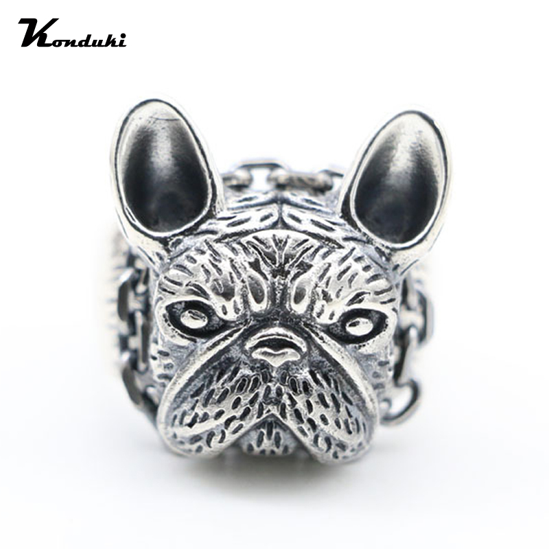 Konduki Retro Classic 925 Sterling Silver Ancient silver Pit Bull Dog Biker Ring For Men Gift Punk Ring Punk Jewelry Accessories crazy pit bull lady apbt dog vinyl window decal dog sticker