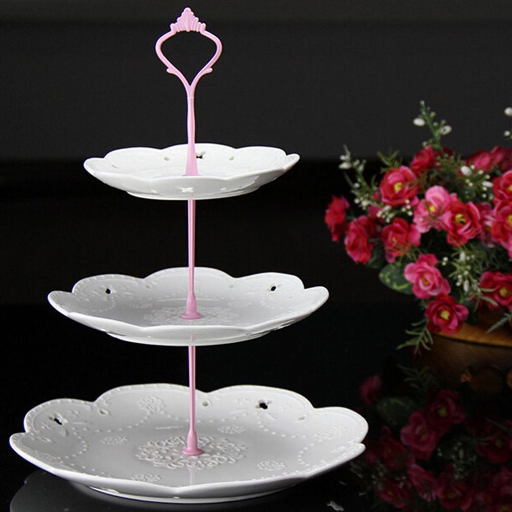 Новинка, 6 цветов, 2 или 3 яруса для торта, пластина, подставка, ручка, корона, металлическая, для свадебной вечеринки, серебро, золото, быстрая - Цвет: 3 tie pink