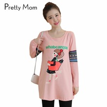 Fashion Cartoon Maternity Tops Tees T-shirts Funny Pregnancy T shirt Autumn Spring Maternity Clothes for Pregnant Women Shirts