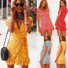 ZOGAA Summer Mini Dress Floral Print Boho Beach Tunic Sundress Women Evening Party Vestidos de festa S-XXL