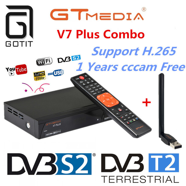 GT Media V7 Plus Satellite Receiver DVB-S2 DVB-T2 Decoder 1080P Full HD powervu TV Receptor+1 Year Europe Spain Poland cccam