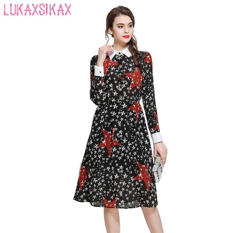 Newest Fashion 2017 Runway Dress Cute Five-pointed Star Print Women Long Sleeve Midi Dress Elegant Chiffon Retro Party Dresses