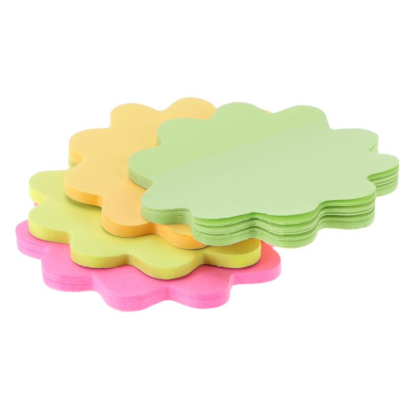 Flower Shape Self-Adhesive Memo Pad Marker Message Sticky Notes Post Sticker Decor Bookmark Office School Stationery Supplies