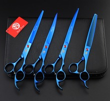 Purple Dragon High Quality 8.0 Inch Pro Pet Grooming Scissors Set, Cutting +2 curved + Thinning Scissors For Dog Grooming 4PCS
