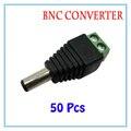 50 pçs/lote DC Power Plug Conector BNC Adaptador Macho DC Para fonte de Alimentação Da Câmera de CFTV IP de Vigilância Acessórios