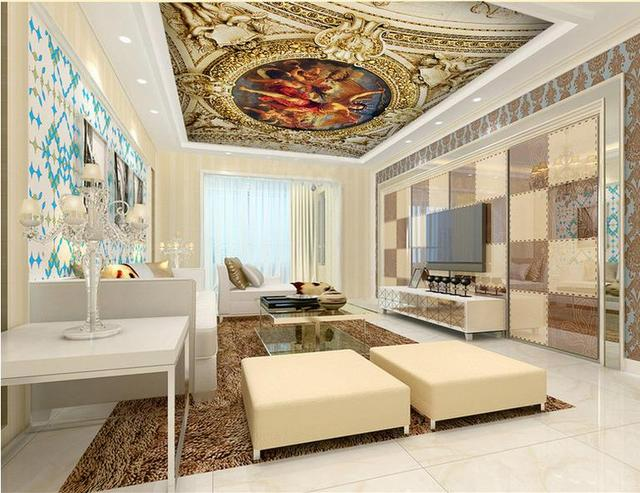 US $34.0 |Decke wandbilder wallpaper benutzerdefinierte 3d fotowand papier  für decke Renaissance schlafzimmer decke tapeten wohnkultur 3d in Decke ...