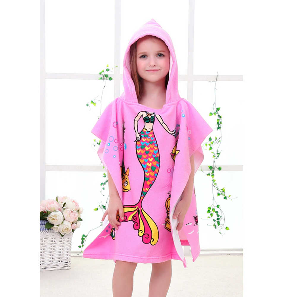 Poncho Bain Beach Towel 60x120cm Cartoon Kids Colors Baby Hooded Poncho Character Kids Bath Robe Towel Toallas Playa Serviette De Bain
