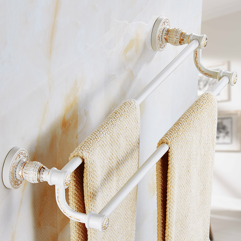 Vintage Design White/Antique Double Towel Bar Continental Bathroom ...