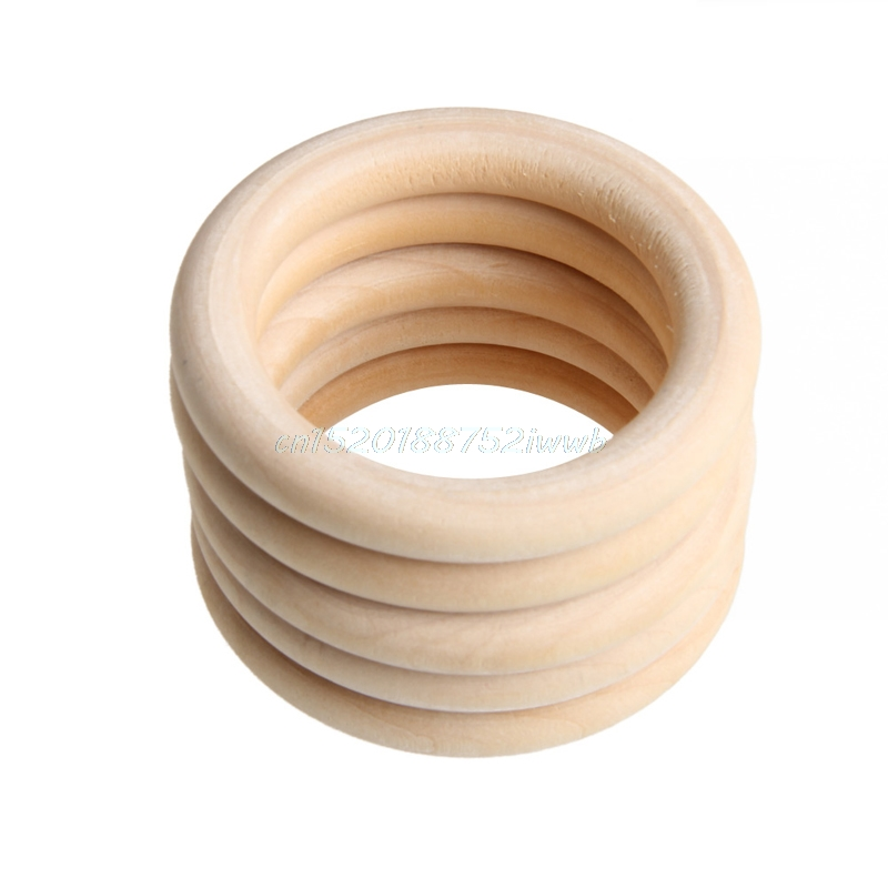 5 stk 70mm Baby Natural Teething Rings Wooden Halskjede Armbånd DIY Crafts