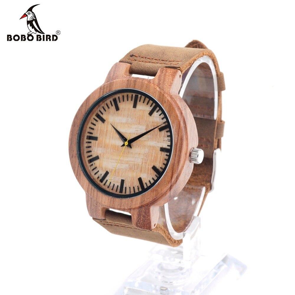 ФОТО BOBO BIRD C20 Zebra Wooden Wristwatches for Men Fashion Casual Erkek Clocks with Leather Band Uomo Orologio