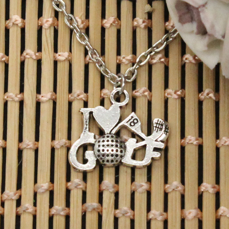 new fashion I love golf Pendants round cross chain short long Mens Womens DIY silver necklace Jewelry Gift