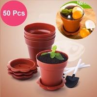 50 Pcs/set Creative Flower Pot Cake Cups Shovel Lid Tiramisu Decor Ice Cream Decoration for Wedding Kids Birthday Party Supplies
