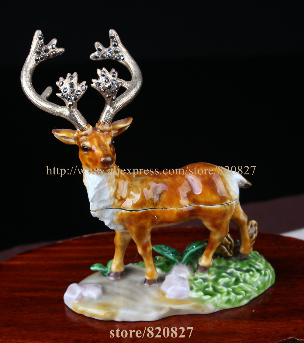 Christmas Deer Jeweled Trinket Boxes Reindeer-shaped Pill Box Enameled Pewter Bejeweled Stag / Deer / Buck Trinket Box