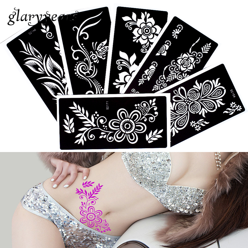 6 Pieces Temporary Waterproof Henna Tattoo Stencil Glitter Paste Drawing Butterfly Flower Waist Body Art Tatttoo Stencil S200#28