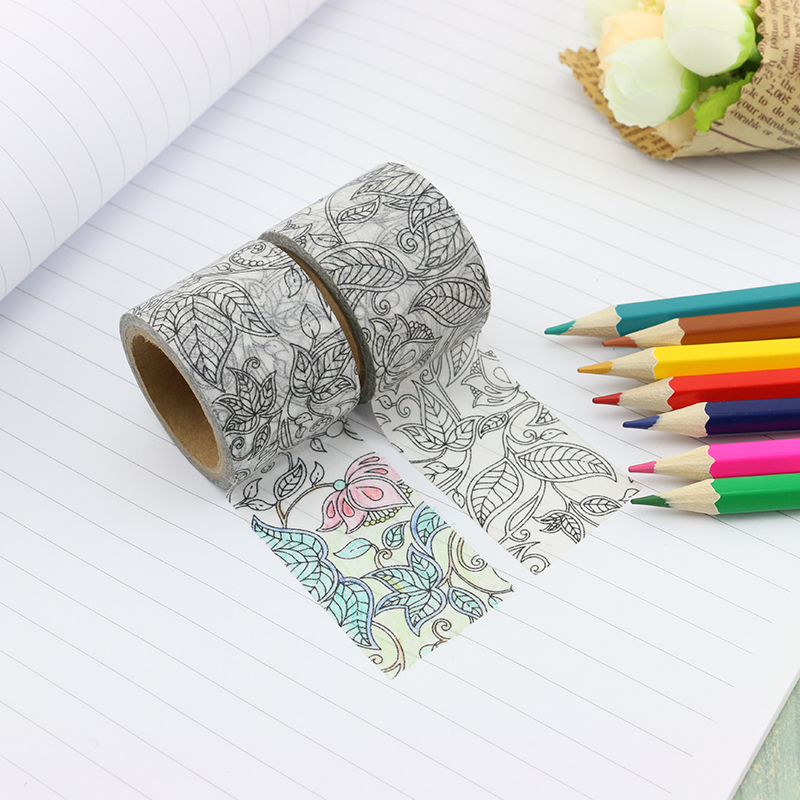 Wide DIY Coloring Doodle Washi Tape Paper Tree Leaf Kawaii Scrapbooking Tools Masking Tape Decorative Stationery Tape 30mm*5m