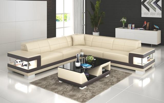 Fashion Design L Shape Design Living Room Furniture Leather Sofa Set G8017B