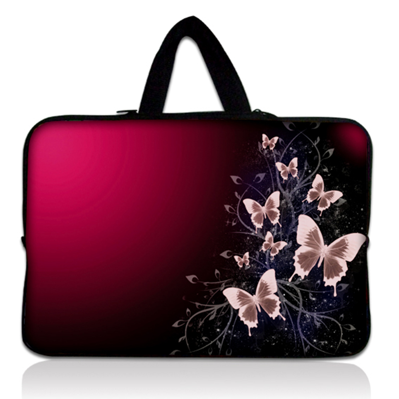 Purple Butterfly Flower Neoprene Soft Laptop Sleeve Bag Cases Cover Pouch Protector For 15 15.4 15.6 Netbook Ebook Computer PC