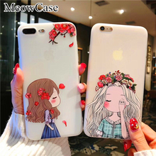 MeowCase For iPhone 7 8 6 6S 5 5S SE Case Soft TPU 3D Relief Flower girl phone cases For iPhone X 6 6S 7 8 Plus Silicone cover