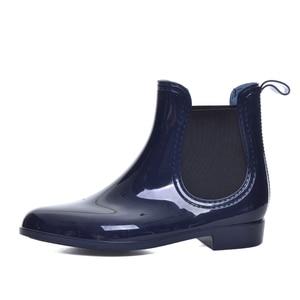 Image 3 - أحذية طويلة للربيع والشتاء من Feng Nong أحذية طويلة بتصميم علامة تجارية للكاحل مزودة بأربطة مرنة أحذية بدون كعب للنساء أحذية بدون كعب مقاومة للمياه من المطاط الصلب Cd609