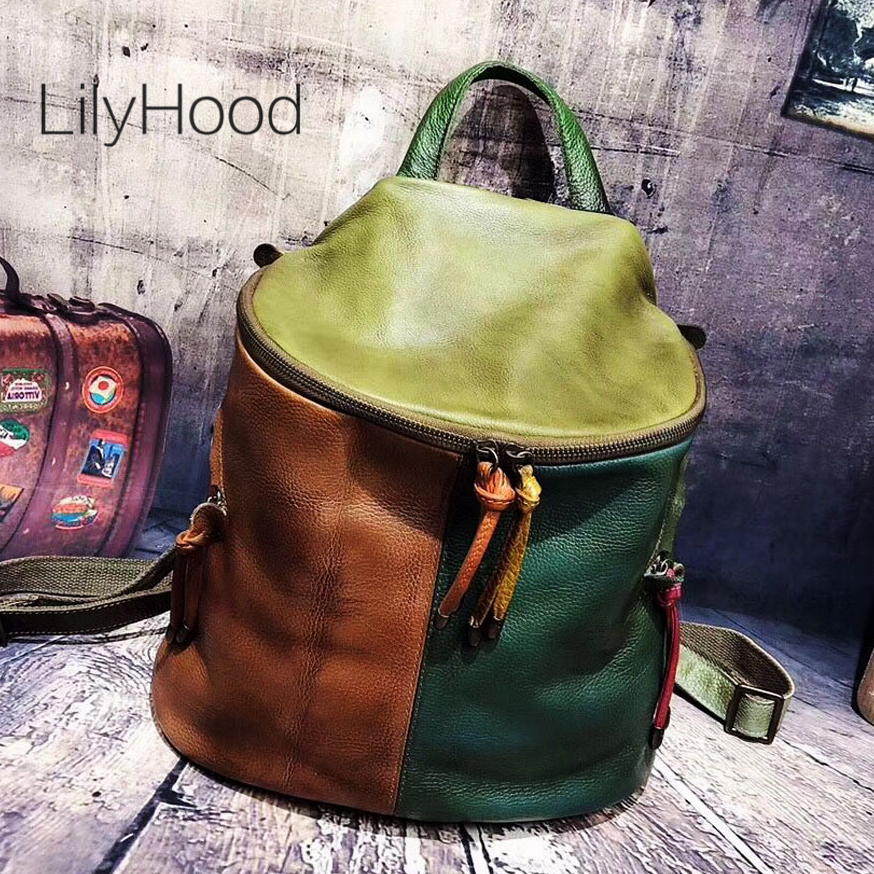 Cowhide Brushed off Leather Backpack Women Casual Genuine Leather Bucket Shaped Knapsack Female Natural Leather Daily