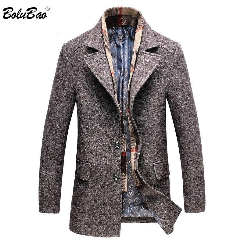 BOLUBAO Men Winter Wool Coat Men's Turn-down Collar Solid Color Warm Thick Wool Blends Woolen Pea Coat Male Trench Coat Overcoat