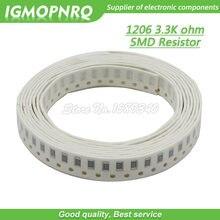 100PCS chip de resistor SMD Resistor 1206 1% 3.3K ohm 0.25W 1/4W 3K3 332 IGMOPNRQ