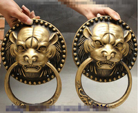 SCY 1122+++Chinese Evil Spirits Tiger Head Statue Valve Ring Door knocker Gate Pair
