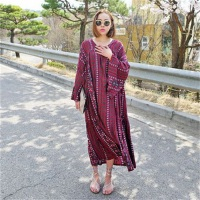 2018 Maxi Beach Dress Summer Dress Real Top Fashion Bohemian Full Natural Flare Sleeve Viscose Mid calf V neck Women Bohemia