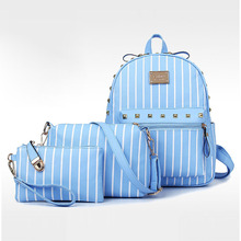 Luggage&bags Women Backpack Canvas Backpack Sets New Fashion Thread Mochila Escolar Women Bag Pouch School Backpack 2016