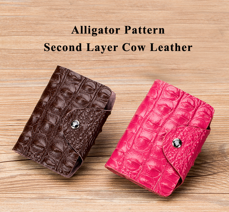 Lomelobo Split Leather Card Holders Men & Women Alligator Pattern Passport bag Credit ID Cards Holder 26 card slots Cards Wallet 2019 HCL400 Details (01)