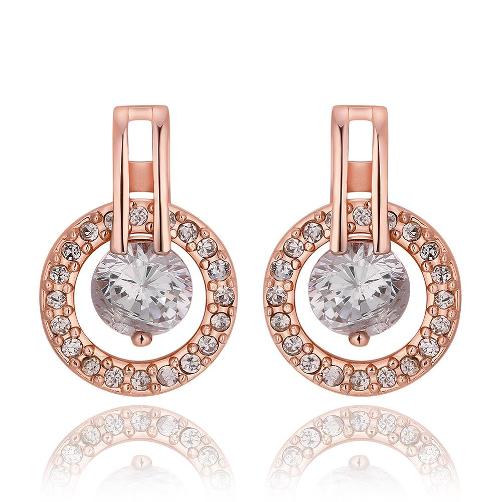 Fashion Jewelry Imitation Round Brilliant Crystal Earrings Nickle Free Antiallergic Women Stud Earring