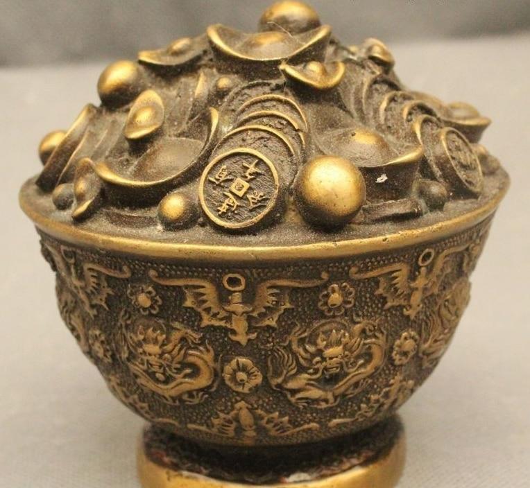 "4"" Chinese Fengshui Bronze Wealth Yuanbao Dragon Treasure Bowl Statue"