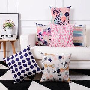 Скандинавские креативные акварельные золотые подушки, рождественские наволочки для дома, декоративные льняные наволочки, наволочки для ди...