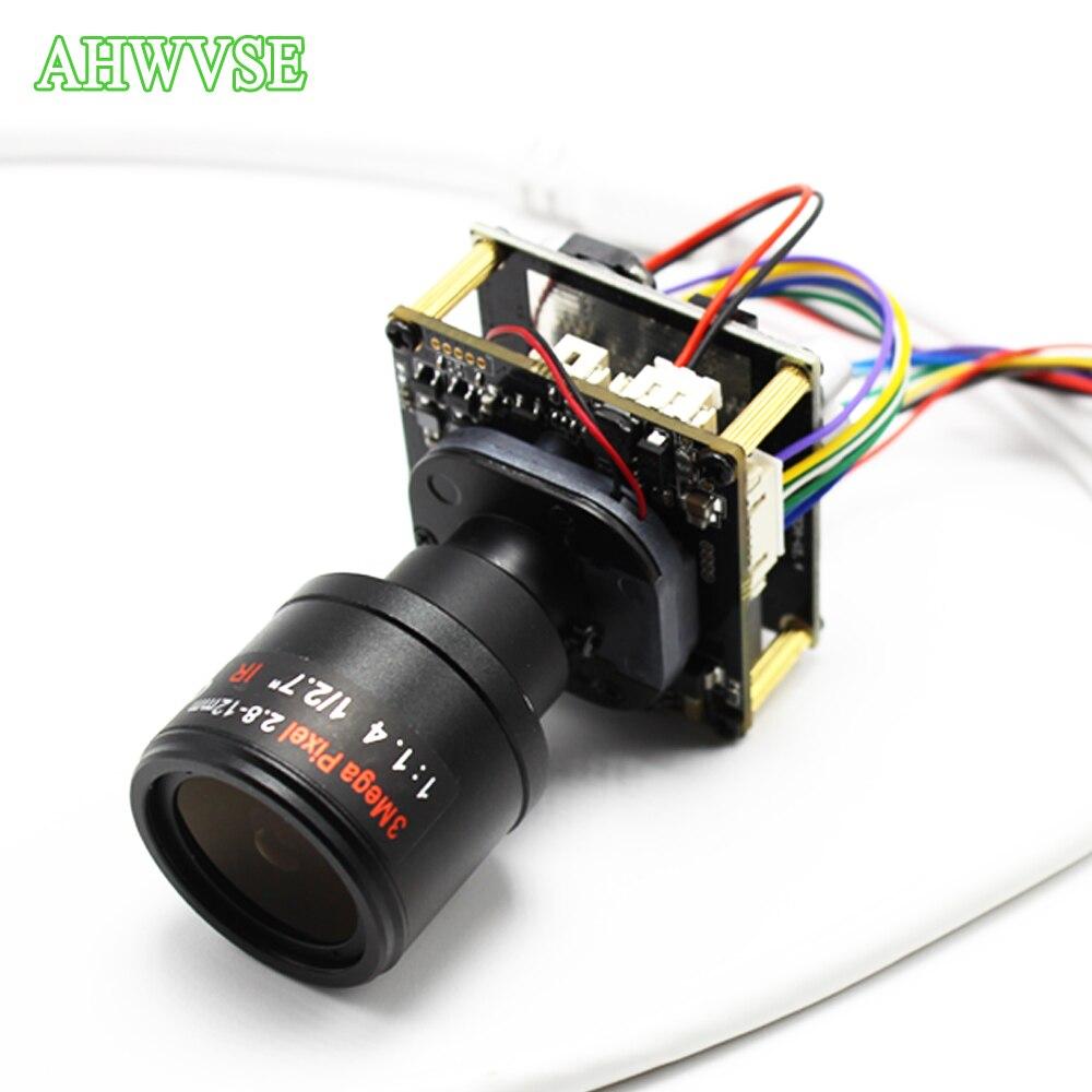 Large vue 2.8-12mm lentille H.265 1080 P POE IP caméra carte H.264 ONVIF P2P CCTV IP caméra Module avec câble IRCUT RJ45