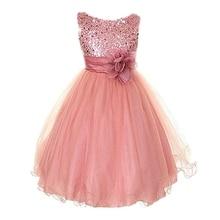 Kids Baby Girls  Rose Flower Princess Party Wedding Bow Bowknot Tutu Sleeveless  Dress  O-Neck