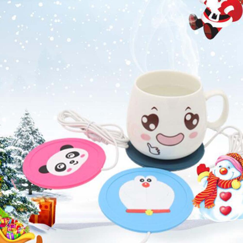 Cartoon Creative Silicone Electric Insulation Coaster USB Warm Cup Heating Device Office Coffee Tea Warmer Pad Mat 1 Pcs