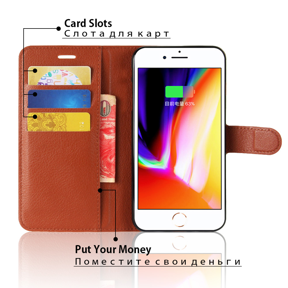 KIP7P1146_4_Litchi Texture Leather Case with Card Slots & Stand for iPhone 7 Plus