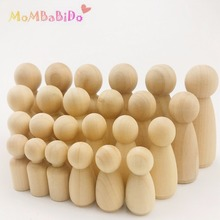 70Pcs Big Familes Of(35-65mm) Unfinished Learning Education Wooden Montessori Toys  Kids DIY Blocks