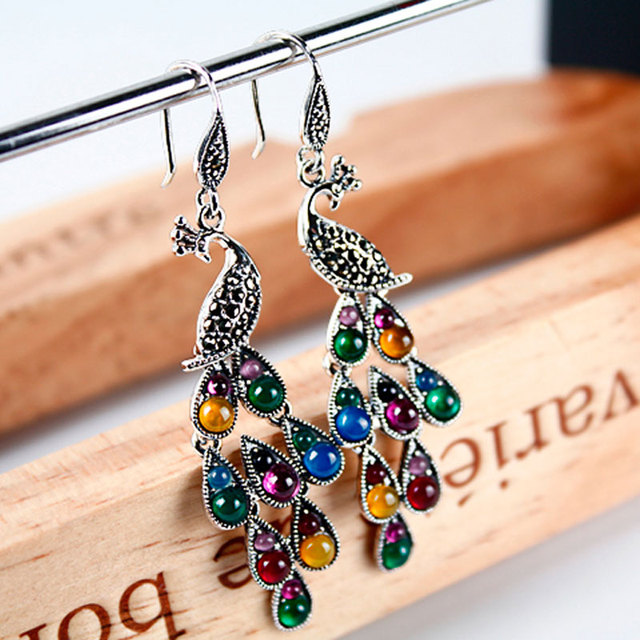 Colorful precious stone womens long earings fashion jewelry phoenix peacock feather with bohemian ethnic style from india