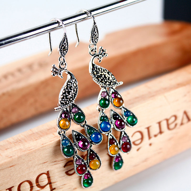 Image 4 - JIASHUNTAI Silver 925 Earrings Vintage Peacock Earrings Colorful  Retro 100% Sterling Silver Jewelry For Women Natural Stoneearrings 925  silver sterlingjewelry silver earringssilver 925 stone