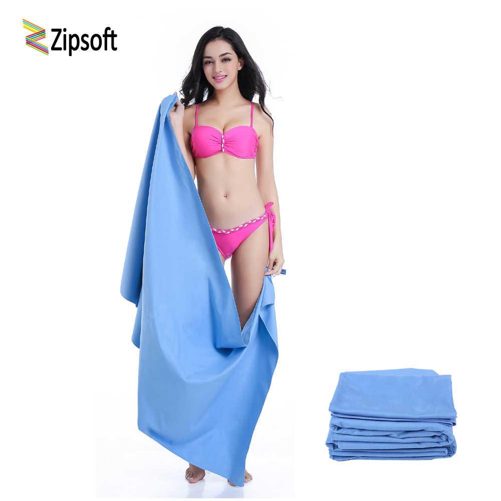 Zipsoft ręczniki plażowe z siatkowa torba koc plaża okłady sport i podróże Hotel joga mata szybka sucha kąpiel siłownia turystyka Camping pływać