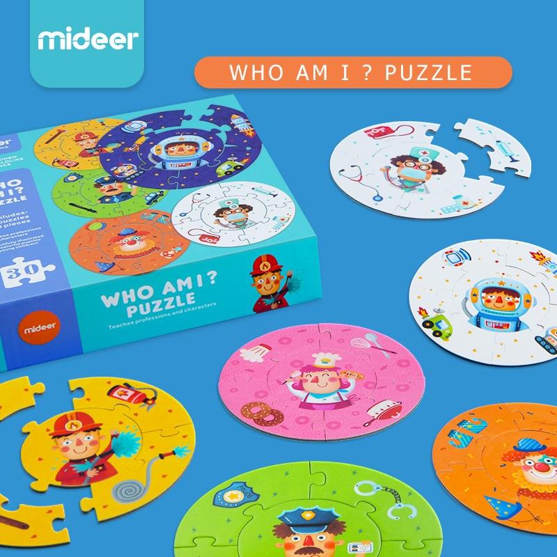 Mideer enfants double face papier puzzle jouets qui suis-je jeu puzzle enseigne professions personnages d'apprentissage jouets éducatifs