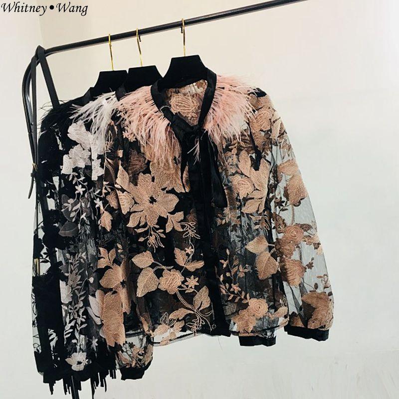 Whitney Wang 2019 Spring Autumn Fashion Streetwear Ribbons Bandage Blouse Women Blusas Shirt Tops Blouses & Shirts